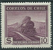 CHILE 1936 Railroad Locomotive 10 pesos wmkd. Sc.209 MNH