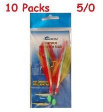 10 Packs 5/0 Rock Cod Feather Red-Yellow Rigs 2 Hooks Feather Rockfish Bait