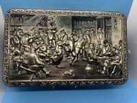 Vintage Teniers Tin Silver Colored Finish - Made in Belgium - Biscuit/Candy Box