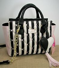 Betsey Johnson LB Cutie Hearts Tassel Black White Blush Pink Faux Leather Purse