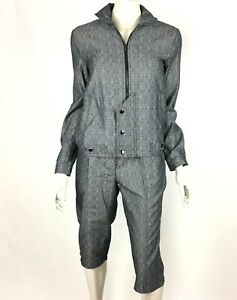 Derek Lam Utility Cropped Trouser Jacket Set Black Pocket Organic Cotton Women 8