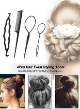 4 Pcs Set Styling Clip Bun Maker Hair Twist Braid Ponytail Tool Accessories