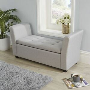 Ottoman Window Seat Grey Fabric Toy Bedding Storage B Seconds