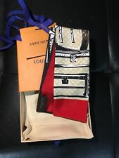 New Auth Louis Vuitton Red Monogram Trunks Bandeau Scarf