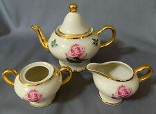 Vintage Tea Set by Kingwood Company Tea Pot, creamer & sugar w/ heavy gold gilt