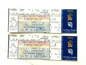 Lot Of Two Game 2 10/19 1997 World Series Marlins Indians Baseball FULL Ticket