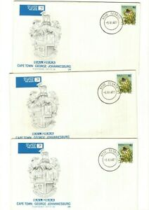 1977 SAL/SAA - 1st FLIGHT CAPE TOWN-JOHANNESBURG FDC'S X3 FROM COLLECTION 8C/9