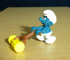 Smurfs Lawn Mower Super Smurf Mowing Cutting Grass Vintage Figure Toy Lot 40225