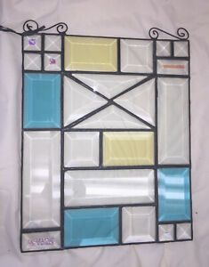 """Bevelled STAINED GLASS PANEL 11"""" x 9"""" w Decorative Iron swirls FREE SHIPPING"""