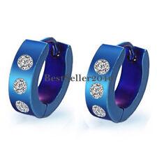 2pcs Stainless Steel Men Boys Blue Huggie Hoop Snap Earrings with Cubic Zirconia