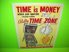 Bally TIME ZONE Original 1972 Flipper Game Pinball Machine Promo Sales Flyer