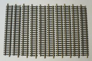 (J14/3) Fleischmann 10x 6001 Recto Carriles H0 Latón Riel de Modelismo Usado
