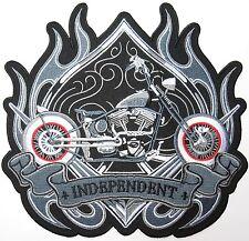 "INDEPENDENT Chopper Rider Lone Wolf Biker Big XL Embroidered  Back Patch 8.9"""