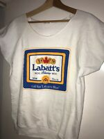 Vtg 80s Labatt's Blue Beer Sweatshirt 1828 Logo Muscle Canada Made Box Logo