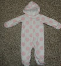 ea50d071e Carters Baby Girls Snowsuit White Pink Polka Dots Footed Size 9 Months NEW