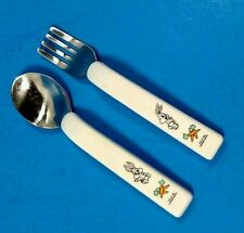 Looney Tunes Warner Brothers 1994 Salad Toss Set Salad Fork and Spoon Taz and Bugs Bunny Ceramic Handles