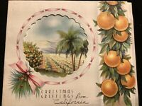"#1970🌟Vintage 30s ""Christmas Greetings From CALIFORNIA"" Orchard Greeting Card"