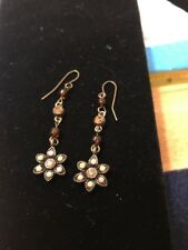 """Earth Tone 2""""flower Hanging Earrings. Pre Owned In Perfect Condition"""