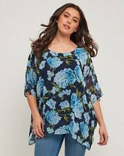 Joe Browns ladies blouse shirt top plus size 20 blue floral floaty boho chic