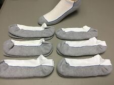 NWOT Men's Jockey No Show Footie Socks Size Large White w/ Grey 6 Pair #62R
