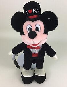"Disney Store Original Mickey Mouse Tux Top Hat I Love New York 15"" Plush Stuffed"