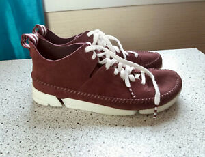 Size 8.5 Clark's Classics Trigenic Flex Burgundy Suede Casual Shoes Vibram Soles