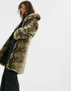 Jakke @asos  Snakeskin Katie  FAUX FUR COAT Size 12 bnwt