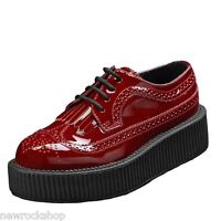 Tuk Av8977 T.U.K. Shoes High Sole Red Burgundy Patent Brogue Viva Creepers