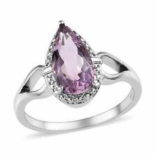 Rose De France Amethyst Ring Pear Cut Size 8 & 10 TCW 2.50