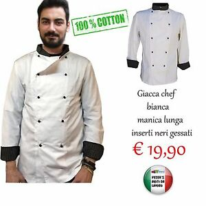 Giacca Cuoco unisex Ristorante DA LAVORO bianca cotone PIQUET Cucina Masterchef