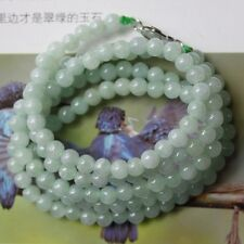 "CERTIFIED Natural Untreated Light Green Jadeite JADE Beautiful Necklace 28"" #185"