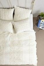 Anthropologie Thayet Jersey Euro Pillow Sham Cotton Ivory Pintucks Nwt