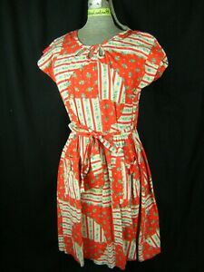 Vtg 60s Vibrant Red White Floral Printed Wrap Back House Day Dress-Bust 39/S-M