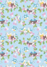 Lewis & Irene, Bluebirds, Nests,Blue, 100% Cotton Fabric, Fat Quarter, Patchwork