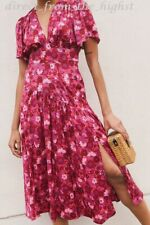 TOPSHOP Willow Pink Floral Print Angel Sleeve Midi Dress