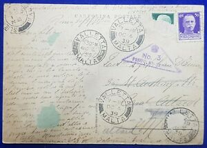 1939 ITALY - MALTA (ATTARD) - POSTCARD + PPH 43 (Type D) + Passed By Censor No.3