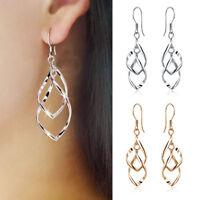Women Silver Plated Fashion Lady Dangle Ear Stud Hoop Earrings Jewelry