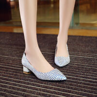 Womens Slip On Pointed Toe Chunky Pumps Casual Block Med Heels Fashion Shoes