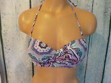32B VICTORIA'S SECRET VS Swim The Getaway Scalloped Halter Bikini Top Paisley
