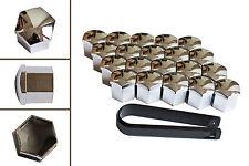 20 x 19mm Chrome Wheel Plastic Nut / Bolt Covers Caps Inc. Removal Tool /22051