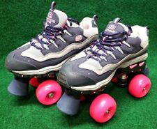 Girls Skechers Sport Quad 4 Wheelers Roller Skates Sz 4/3 Blue Silver Pink 9910L