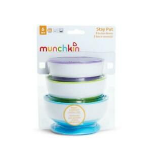 Munchkin Stay Put Suction Bowls Toddler Snack Bowl Stick on 3 Pack