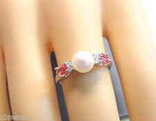 CULTURED AKOYA PEARL 6.30 mm RED ORANGE SAPPHIRES and DIAs 10K WHITE GOLD RING