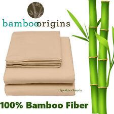 100% Bamboo Rayon Fiber 4 Piece Full Sheet Set Beige Soft Bedding Best GHB-101