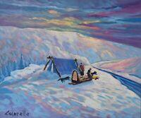 SERGE CADORETTE Original Oil Painting Arctic Landscape Sled Dogs Canadian Listed
