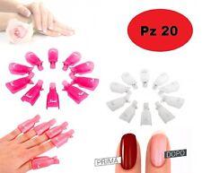 Pack 20 Clip rimuovi GEL e SEMIPERMANENTE per unghie NAIL ART WRAP 20 pz