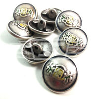 PACK OF 10 28339-32 20mm ROUND METAL SILVER LINE EFFECT BUTTON BUTTONS BTN