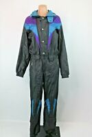 Vtg 80s 90s Descente Mens One piece Ski Suit Snowsuit Sz M Black Blue Purple