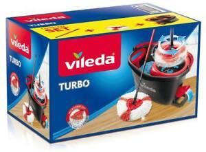 Vileda Turbo Komplett Box, Wischer und Eimer mit Powerschleuder, höhenverstellba