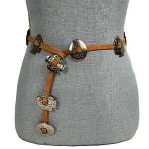 Leather Vintage Belt Silver Arrowhead Conchos Fetish Animals Thunderbird SW